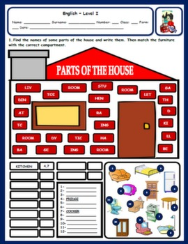 PARTS OF THE HOUSE AND FURNITURE WORKSHEET#