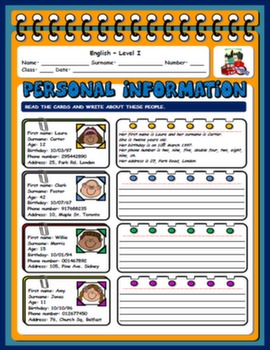 PERSONAL INFORMATION WORKSHEET#