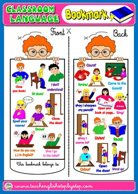 #CLASSROOM LANGUAGE BOOKMARK FOR BOYS (AVAILABLE IN BLACK & WHITE)