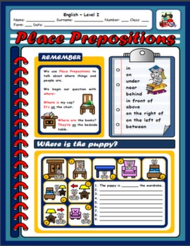 PLACE PREPOSITIONS WORKSHEET#