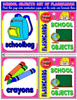 SCHOOL OBJECTS FLASHCARDS (18 FLASHCARDS)