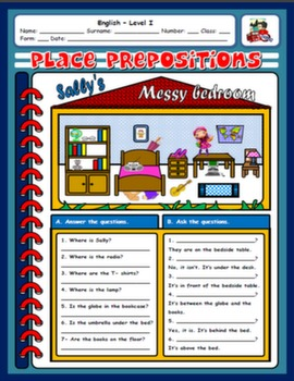 PLACE PREPOSITIONS AND FURNITURE WORKSHEET#