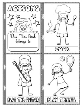 #ACTIONS COLOURING MINI BOOK (21 PAGES)