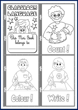 CLASSROOM LANGUAGE COLOURING MINI BOOK