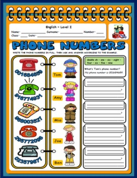 PHONE NUMBERS WORKSHEET#