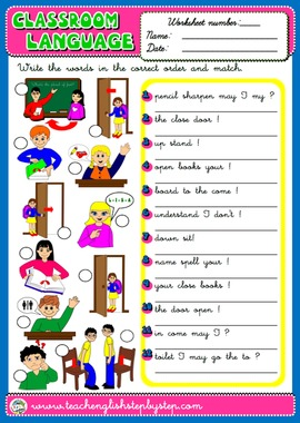 #CLASSROOM LANGUAGE WORKSHEET 2 (AVAILABLE IN BLACK & WHITE)
