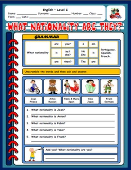 COUNTRIES & NATIONALITIES WORKSHEET#