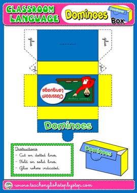 CLASSROOM LANGUAGE DOMINOES BOX (AVAILABLE IN BLACK & WHITE)