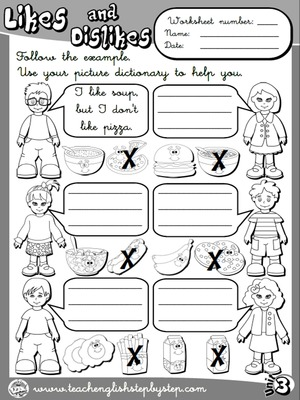 Likes and Dislikes - Worksheet 3 (B&W version)