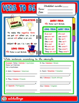 VERB TO BE - STUDY WORKSHEET (NEGATIVE)