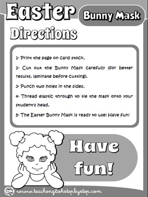 EASTER BUNNY MASK - DIRECTIONS