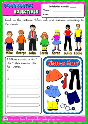 #POSSESSIVE ADJECTIVES WORKSHEET