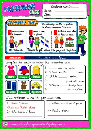 #POSSESSIVE CASE WORKSHEET