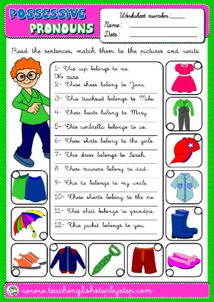 #POSSESSIVE PRONOUNS WORKSHEET