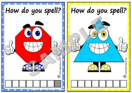 SHAPES - SPELLING CARDS